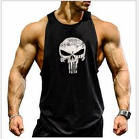gorilla tanks großhandel-The Punisher Herren Marvel Bodybuilding Fitness Herren Tanktop Golds Gym Gorilla Wear Stringer Sport Unterhemd Lifting Tanktops Gym-Bekleidung