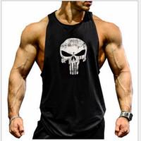 levantar ropa de gimnasia al por mayor-The Punisher Marvel Bodybuilding Fitness Hombre Camiseta sin mangas Golds Gym Gorila Wear Stringer Sudadera deportiva Lifting Tank Tops Gimnasia