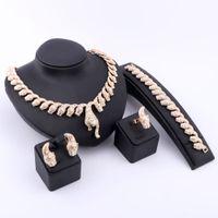 nigerianische hochzeitsschmuck groihandel-Nigerian Dubai African Gold Versilbertem Kristall Halskette Ohrringe Ring Armband Brautschmuck Sets Für Frauen Hochzeit