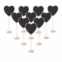 Wholesale Heart Shaped Chalkboard - Wholesale-10Pcs pack Mini Heart Shape Wooden Blackboard Cute Chalkboard Message Notice Number Tag Board Shop Wedding Party Table Decor
