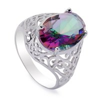 Wholesale wholesale 925 sterling silver reviews online - 925 sterling silver for women Rings Rainbow Fire Mystic Cubic Zirconia Favourite S sz Rave reviews Noble Generous New pattern
