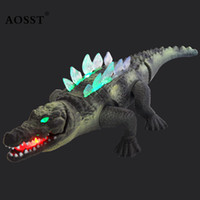 Wholesale Toy Tubas - Wholesale- 42CM Simulation Electric Crocodile Toy With Sound And light Kids Electronic Pets Plastic Tuba Animal Model Boy Birthday Gifts