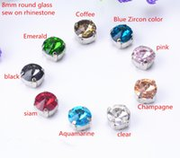 Wholesale Diamond Sewing Buttons - free shippment! 50 pcs lot 8mm Rivoli Round Sew On button Glass Crystal Stone Buttons with metal claw setting for diy garment