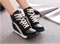 Wholesale High Top Wedges Heels - Womens lace up Sneakers Sports Comfort Rivet Hidden Wedge Heel High Top Shoes