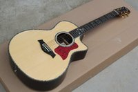 Wholesale Wood Fretboards - wholesale free shipping Top Quality New Built-in B-Band Pickup Systems Solid Spruce Wood Top Ebony Fretboard 916ce Acoustic Guitar 1117