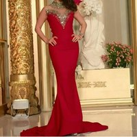 Wholesale Golden Sequin Dresses - Golden Sequins Red 2016 Mermaid Evening Dresses High Illusion Neck Sleeveless Court Train Formal Party Gowns