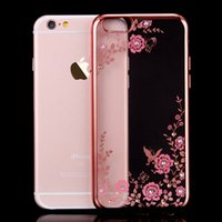 Wholesale Diamond Flower Phone Cases - Floveme Flora Diamond Case for Apple iPhone 6  6S for iPhone 6 Plus  6S Plus Chic Flower Bling Soft TPU Clear Phone Back Cover