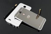 Wholesale metal mini stylus - Mirror Luxury Metal Aluminum Bumper Frame PC Back Cover for LG K4 K8 K10 2017 stylus 3 V20 V30+ G5 G6 Q6 G6 MINI K20 plus G4 stylus 160PCS