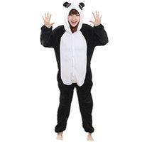 sevimli anime panda toptan satış-Fanila Anime Karikatür Panda Cosplay Yetişkin Unisex Cosplay Hayvanlar Sevimli Onesies Hayvan Pijama Cadılar Bayramı Pijama Setleri hayvan nonopanda tulum