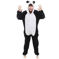 ingrosso simpatico anime panda-Flanella Anime Cartoon Panda Cosplay Adulto Unisex Cosplay Animali Cute Onesies Animal Pigiama Halloween Pigiama Set animale nonopanda tuta