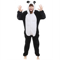 monos de pijama al por mayor-Franela Anime Cartoon Panda Cosplay Adulto Unisex Cosplay Animales Cute Onesies Animal Pajamas Halloween Conjuntos de pijama mono nonopanda animal