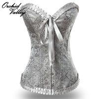 overbust vintage corsets venda por atacado-Atacado-Sexy Cinza Bordado Vintage Zipper Emagrecimento Shaper Do Corpo Corselet Overbust Gótico Bustiers E Espartilhos Para As Mulheres Cintura Trainer