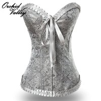 Wholesale Women S Embroidered Corsets - Wholesale-Sexy Grey Embroidered Vintage Zipper Slimming Body Shaper Corselet Overbust Gothic Bustiers And Corsets For Women Waist Trainer