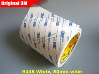 Wholesale Industrial Double Sided Tape - Wholesale-(80mm*50M) 3M9448 White Double Sided Acrylic Adhesive Tape, General Industrial Assembly, Panel Laminating, Electrics Parts Fix