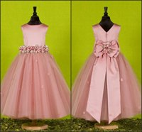 Wholesale Handmade Belts For Dresses - Lovely Blush Pink Flower Girl Dresses for Wedding 2016 Jewel Neck with Handmade Flowers Big Bow Belt Princess Kids Party Gowns Custom