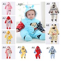 Wholesale Pink Bear Shoes - 2016 New Newborn Animal Deer Romper Cotton Infants Girls Bear Striped Jumpsuits With Shoes Winter Baby Boy Clothes