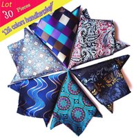(30pcs / Lot) Venda Por Atacado 2016 New Vintage Mens 100% Seda Luxo Pocket Square Paisley Check Handkerchief Wedding Party Hanky