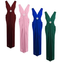 Wholesale V Neck Fashion Pencil Dress - Angel fashions Women's V Neck Ruched Crystal Pencil Evening Dress Formal Occassion Red Carpet Green,Blue,Pink,Red A-354