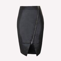 женские юбки оптовых-Новые женщины девушка черная искусственная кожа юбка передняя молния Bodycon мини-юбка платье тонкий сплит юбка карандаш клубная одежда ZSJF0428