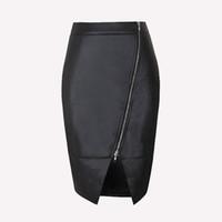 vestidos de clubwear xl al por mayor-Nuevas Mujeres Chica Negro PU Falda de Cuero Cremallera Frontal Bodycon Mini Falda Vestido de Lápiz Dividido Faldas Clubwear ZSJF0428