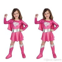 Wholesale Costumes Play Performance - DHL 2016 Halloween Costume for girls Cosplay children kids supergirl costume Role Play Girls Stage performance Cape Dress Set E1107