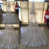 Wholesale Two Train - In Stock White Lace Bridal Veils With Comb Wedding Accessories Wedding Veils Cathedral Train Head Veils