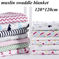 Wholesale Cotton Gauze Muslin - Ins New chevron zigzag muslin swaddle blankets newborn big soft 2 layers cotton gauze towel 20 designs summer quilt stroller cover 120*120cm