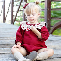 Wholesale clothing wholesalers america - INS Europe and America Christmas styles kids fall long sleeve round collar Hollow lace romper 100% cotton kids clothing romper free ship