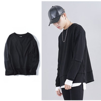 Wholesale Gray Sweaters For Men - High Street 2016 Men OVERSIZE Pullover Sweater Round Neck Long Sleeve KANYE WEST Sweaters Fashion Clothes For Streetwear 3 Colors