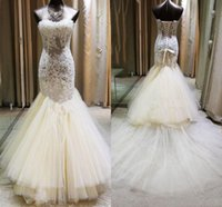 Wholesale Memaid Prom Dresses - Sexy Lace See Through Prom Dresses Sweetheart Ivory Memaid Evening Gowns Tulle Tiered Sweep Train Formal Party Dresses Girls Pageant Gowns