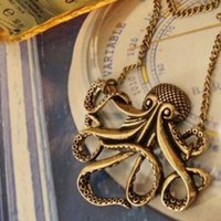 Wholesale Octopus Pendant Necklace - 2016 new Pendant Necklaces Wholesales Pirates of the Caribbean Octopus Man Retro Long Necklace Jewelry free shipping