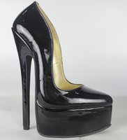 Wholesale Sexy Print Platform Heels - New Full grain leather Genuine leather pump EXTREME high HEEL 20CM high heel with platform women lady shoes Sexy fetish high Heels sexy pump