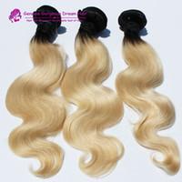 hermosos tejidos al por mayor-Gorgeous Hair Product Weave Bundles Indian Two Tone Body Wave pelo sin procesar negro y rubio Ombre Weave cabello humano 1b 27 Color