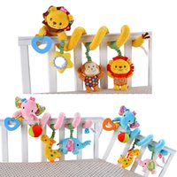Vente en gros- [Sozzy] Baby Toy Crib Car Bed Poussette Plush Spiral Pendentif Décoration Toy Animal Elephant Lion Ring Bell Baby Rattle