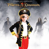 Wholesale Caribbean Dresses - 2016 Halloween Children Caribbean Pirate Cosplay Theater Performance Apparel 6 Pcs Sets Kids Costume Dress Up Dance Dress Baby Clothing