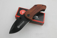 Wholesale Boker Mini Folding Knife - Wholesale Boker DA33 Mini Pocket Folding Knife 440C 56HRC Wood Handle Titanium Tactical Camping Hunting Survival Knife with Clip Gift EDC