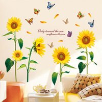Wholesale Sunflower Vinyl Wall Art - DIY Blooming Sunflower Butterfly Pattern Removable PVC Wall Stickers Home Decor Art Mural Room Decal Wallpaper Waterproof