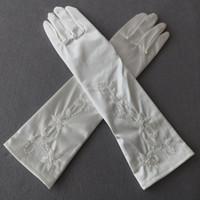 Wholesale Ivory Elbow Length Wedding Gloves - Full Fingers Bridal Gloves Below Elbow Length Beaded Flower Sharp Elegant Long Wedding Gloves for Bride Ivory Color on Sale