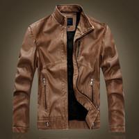 ingrosso giacche moto nero marrone-Wholesale- giacca in pelle da uomo autunno e inverno giacca moto in pelle uomo nero e marrone Plus giacche in velluto caldo 8866
