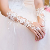 Wholesale Diamond White Gloves - 2016 Latest Custom Made Vintage Fingerless Bridal Gloves In Stock Sexy Fabulous Lace Diamond Flower Glove Hollow Wedding Dress Accessories