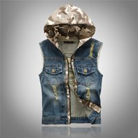 Wholesale mens cotton washed jackets - Fall-Cool Mens Denim Jean Vests Hooded Camo Distressed Ripped Acid Washed Vintage Blue Zipper Closure Hoodie Sleeveless Jacket