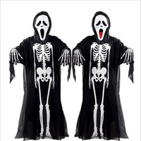 Wholesale costume pattern adult - 2017 New Hot Halloween Cosplay Skeleton Unisex Suit Human Skeleton Pattern Costume Halloween Scare Performance Clothes Wear Mask Suit Adults