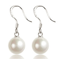 Wholesale Luxury Mother Pearl Fashion - Pearl Earrings For Women Big Ball Luxury Bohemian Jewelry 925 Sterling Silver Drop Earrings Bridal Wedding Jewelry Fashion New