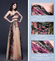 Wholesale Grace Karin Cocktail Dresses - Evening Gowns Abendkleider Colorful Grace Karin Strapless Chiffon Elegant printed Evening Dresses Long Formal Gowns