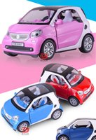Wholesale Smart Car Fortwo - 1:24 Smart Fortwo Pull back Car Model Original Alloy Car Models Baby Toy Educational Pull Back Gifts For Boys
