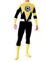 Wholesale Yellow Lantern Cosplay - Lantern Sinestro Corps Custom Made Yellow Lantern Adult Superhero Costume Halloween Party Cosplay Suit