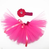 ingrosso cravatta rossa arancione-Gonna per bambina Multi Strati Organza Tutu Fascia per capelli con cravatta Free Photo Prop Outfit Dress 12 colori