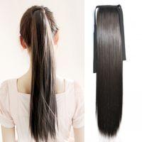 saç uzatma kabloları toptan satış-Sara Benzer insan At Kuyruğu İpli Düz Şerit Ponytails Saç Uzantıları Klip 55 cm, 22