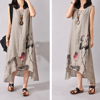 Wholesale Long Cotton Sundresses Women - Hot Cotton Linen Art Style Sleeveless O-ncek Women Loose White Long Dress For Female Maxi Sundress 2016 Summer Women's Dresses