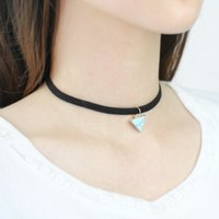 Wholesale Love Design Beauty - Triangle Turquoise Pendant Necklace Leather Ribbon Choker Necklace Creative Design Fashion Jewelry Women's Love Beauty Accessories